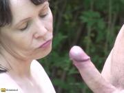Mature bigtit mother takes young dick on nature