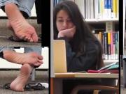 Candid soles in library