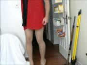 crossdresser in nightie and high heels