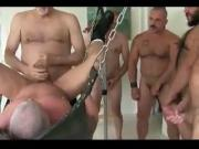 Old Man Gangbang Fucked in Sling
