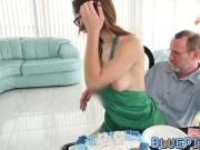 Old man fucks a seductive young babe for his birthday