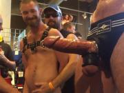 Guys look at big, pierced bound cock at show