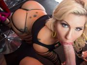 Savana Styles strip down and take a fat cock in her mouth