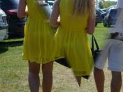 Teen with yellow summer dress with transparent thong