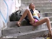 Blonde flashing Binas public nudity and teen exhibitionist