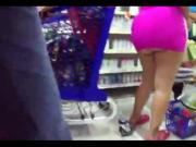 Micro skirt of Latina in Supermarket!