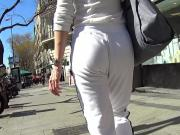 Sexy Ass Blonde In White Jogging Pants