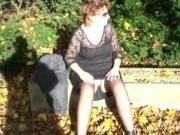 Mature wife outdoor upskirt show