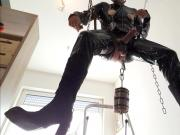 Suspended Sissy Slave Boy Slut Titplay and Cockjerk