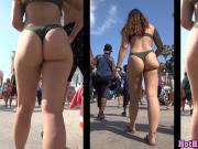 Amazing Big Ass Teen Thong Bikini Beach Voyeur Closeup