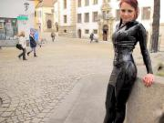 Sweet young Lady 01 - Black latex mini skirt, leggings