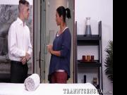Sensual black TS receives passionate ass fuck after massage