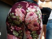 Candid Fine Latina Insane Booty!! in Flowered Leggings!! pt2