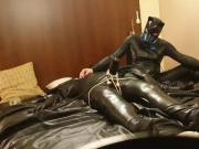 Hendrik Gransow bound in rubber catsuit and were milked