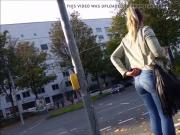 candid teen ass in blue jeans 1