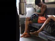 College Ebony Titties Hard Nipples on Bus