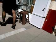Business Woman Black Pantyhose