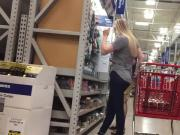 DW Blonde teen shopping with dad