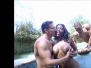 black girl curly hair fucking 2 white guys in the swimming p
