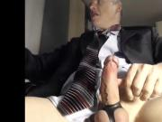 dad stroking his cock at the office