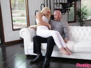 Busty blonde doggystyled by step dad on couch