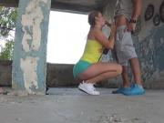Amateur sex with his girlfriend in abandoned place