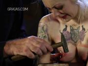 Slave fucked up, presented with whip and nails