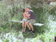 Barely Legal gold digger fucked and cum sprayed outdoors
