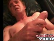 Tattooed mature homo jerks off hard and empties his balls