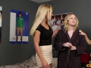 CFNM femdoms wanking off cheeky voyeur