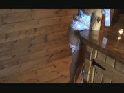 Baby Blue Satin Cami Panties suspenders and stockings