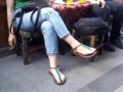 her sexy big long feets sexy toes in sandals