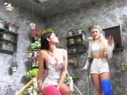 Fetisch-Concept.com - 2 girls with long cast leg Flowershop1