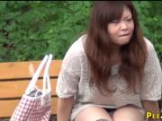 Asian slut watched peeing