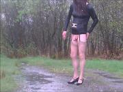 Crossdresser Cath flashing