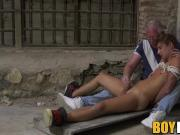 Bound homo Ariel Black dick stroked and greased furiously