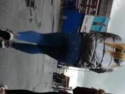 Street Candid Ebony Yoga Pants Up Arse Crack 270