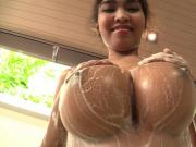 Rubbing soapy bubbles on my big boobs