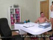 Casting female agent cumsprayed on pussy