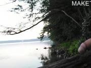 Am See gewichst und abgespritzt