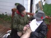 Jerky girl jerks man off outside-daddi