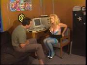 Busty mature blonde in thigh-highs kneels to suck younger dude's cock