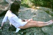 Horny crossdresser masturbates outdoors