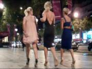 Three blonde in long dress and very hot high heels