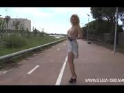 Flashing nude in public in Spain
