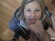 Housewife gives a blowjob to get the dishes done
