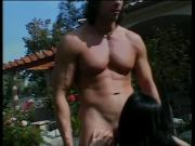 Big-titty brunette sucks and takes boyfriend's cock in yard