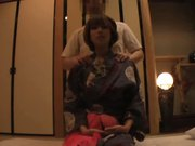 The young wife's massage in the japanese-style hotel