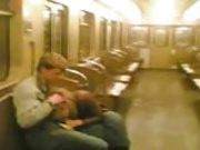 Homemade movie of couple on Moscow's tube