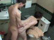 Mom and boy in shower